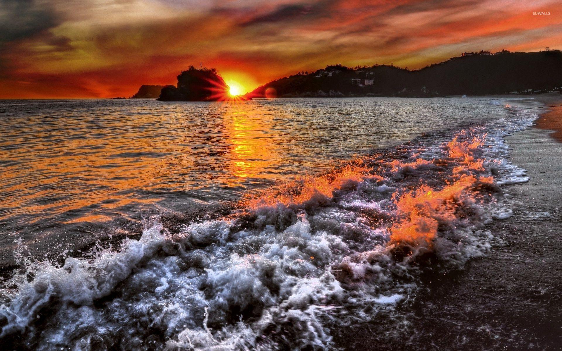 красочный закат над морем  № 1258738 загрузить