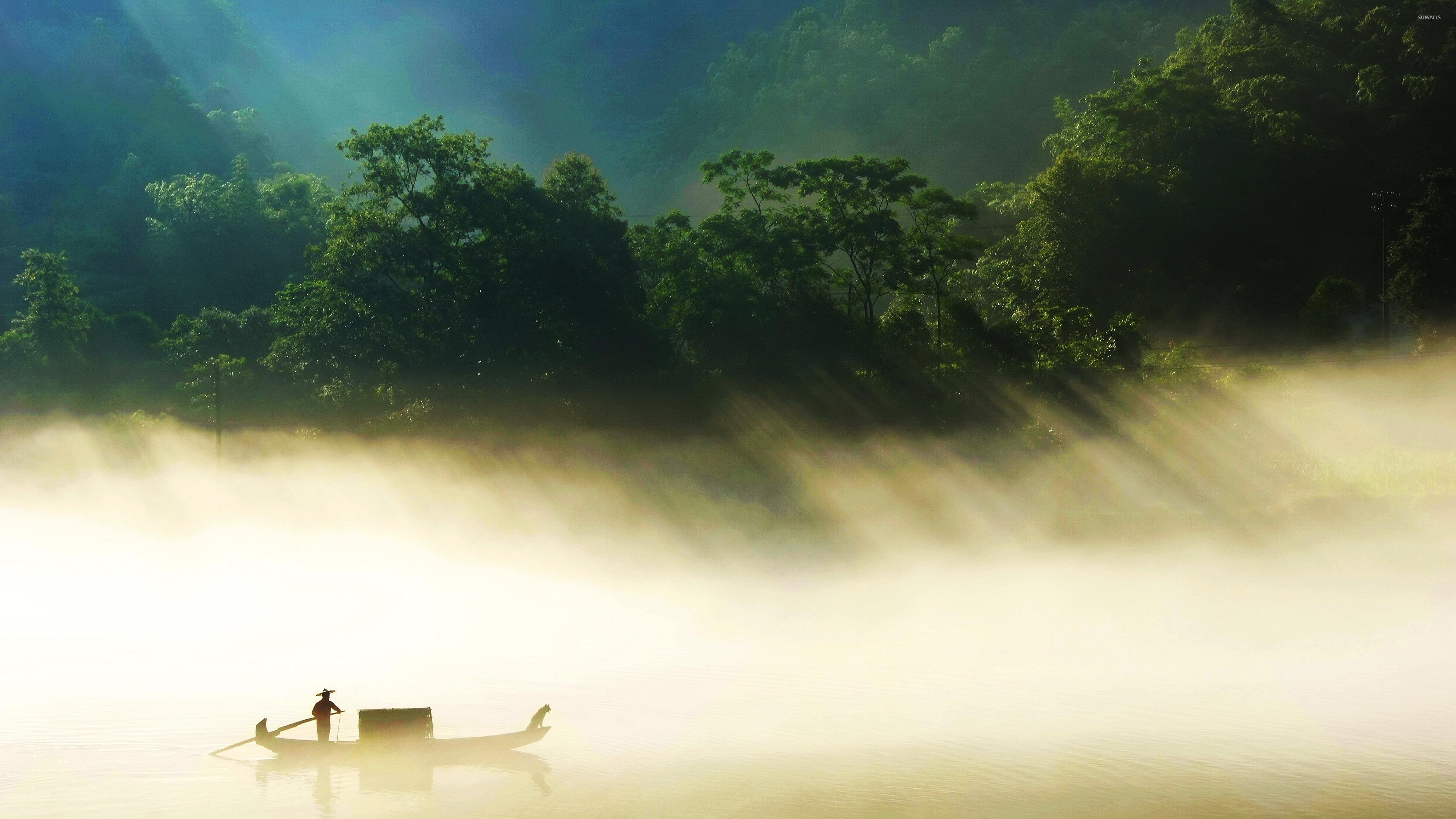 речка дерево зелень вечер туман  № 452932 без смс