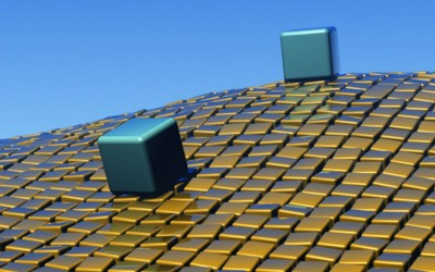 Big cubes on top of golden small cubes wallpaper