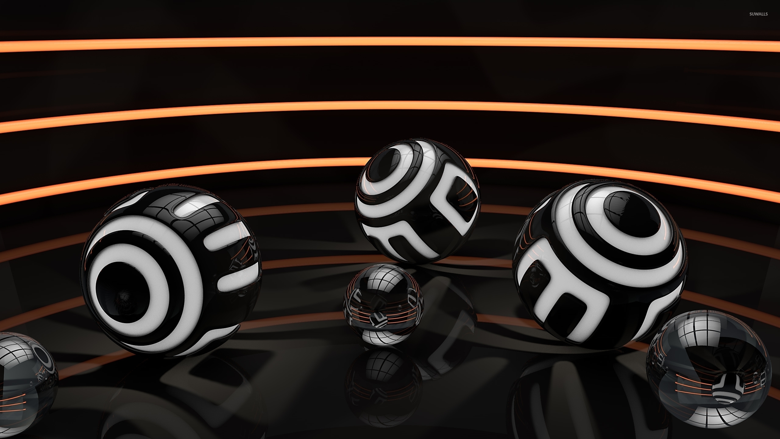 Black and white balls in an orange lit room wallpaper 3d for Black and white 3d wallpaper