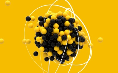 Black and yellow spheres wallpaper