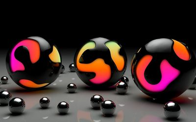 Black paint imprisoning the colorful balls wallpaper