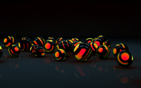 Black shells protecting the orange orbs wallpaper 2560x1440 jpg