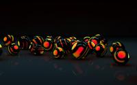 Black shells protecting the orange orbs wallpaper 2560x1440 jpg
