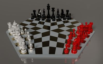 Black, white and red chess pieces wallpaper
