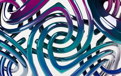 Blue and purple swirling tubes wallpaper