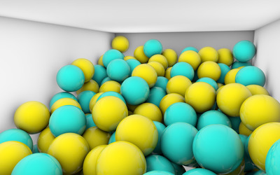 Blue and yellow spheres in a room wallpaper