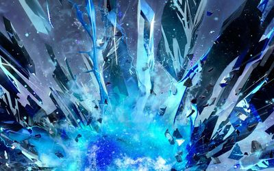 Blue crystal explosion wallpaper