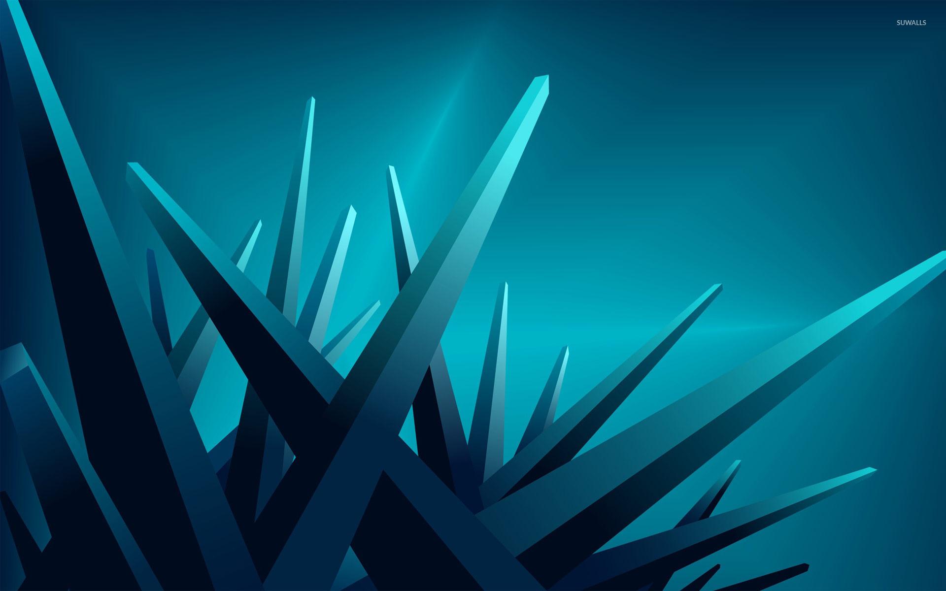 Hd Wallpaper 1920x1080 Black Blue: Blue Crystals Wallpaper