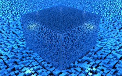 Blue cuboids Wallpaper
