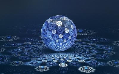 Blue fractal ball wallpaper