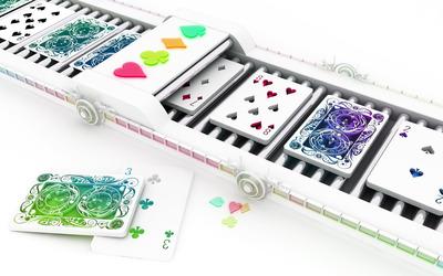 Cards on a conveyor belt wallpaper