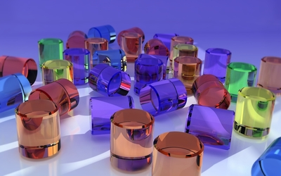 Colorful glass shapes Wallpaper