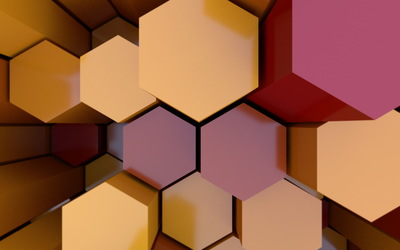 Colorful honeycomb assembly wallpaper