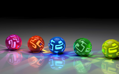 Colorful lit orbs on the ground wallpaper