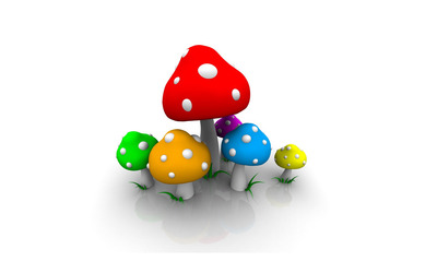 Colorful mushrooms wallpaper