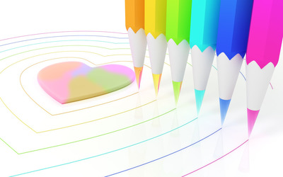 Colorful pencils drawing hearts wallpaper