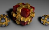 Cubes in golden wrap wallpaper 2560x1600 jpg