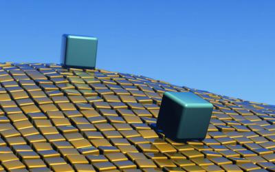 Cubes on wavy cube floor wallpaper