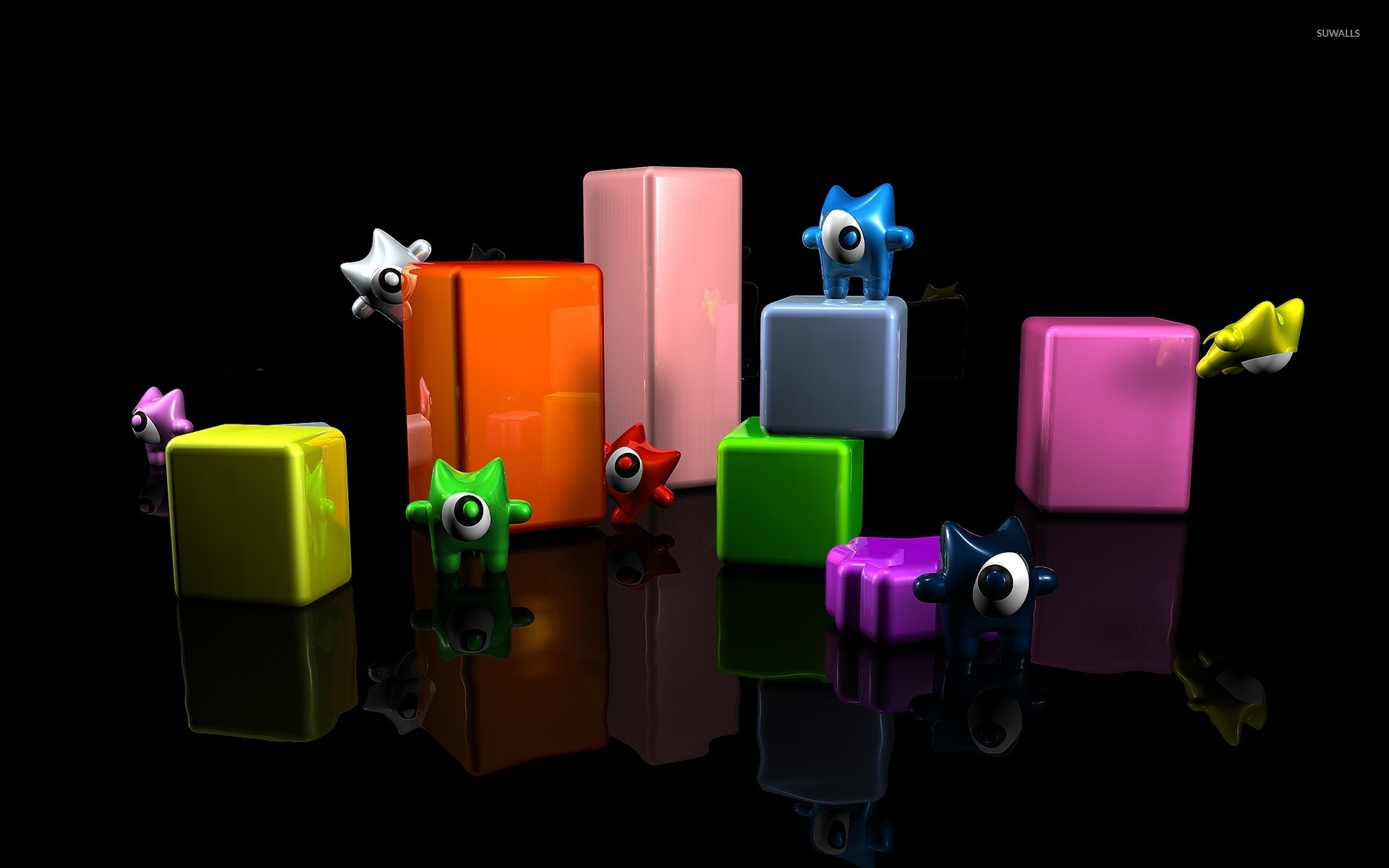 cute monsters on cuboids wallpaper - 3d wallpapers - #24719