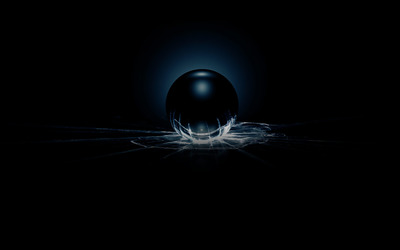 Dark sphere smashing the glass wallpaper