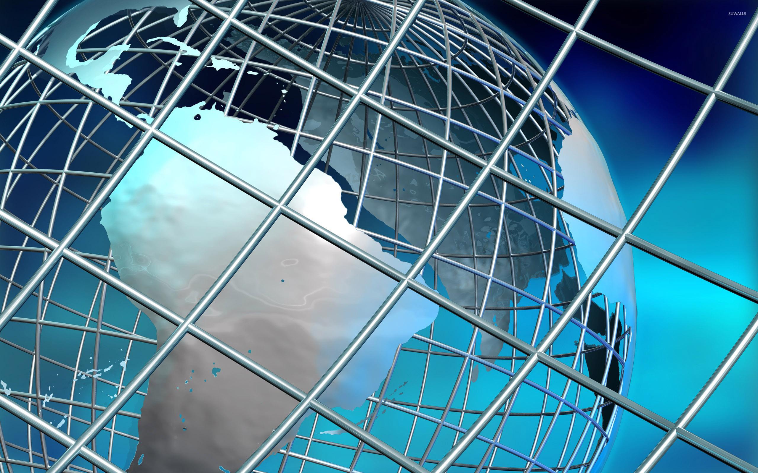 Earth on metallic web wallpaper - 3D