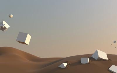 Floating cubes in the desert wallpaper