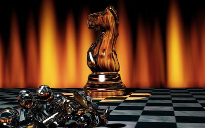 Glass chess figures wallpaper