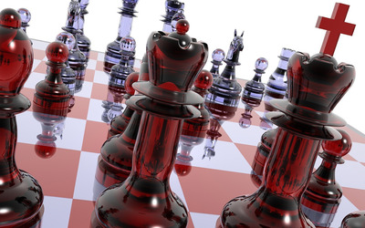 Glass chess set wallpaper