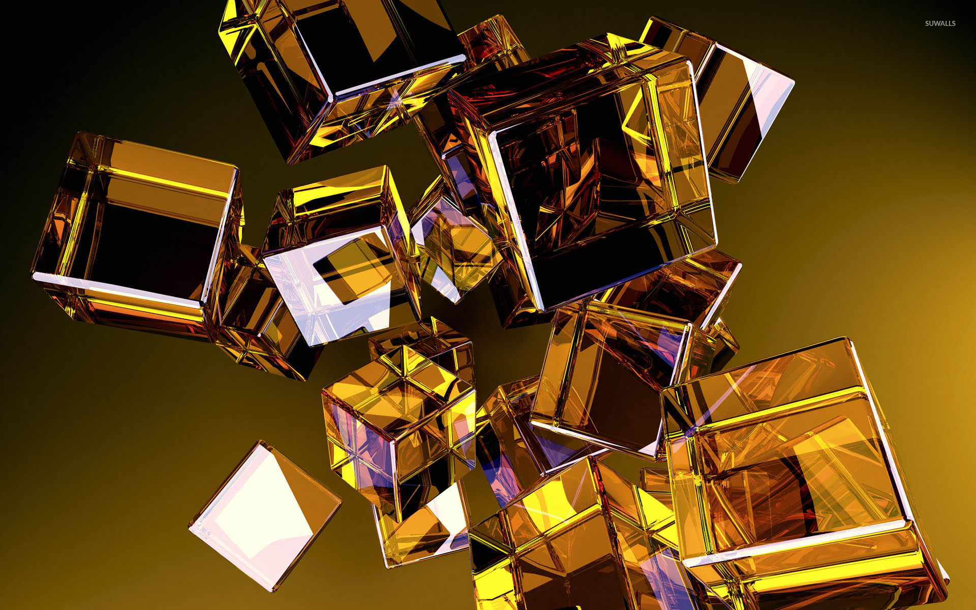 Glass cubes 4 wallpaper 3d wallpapers 11879 for Gold 3d wallpaper