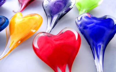 Glass hearts wallpaper