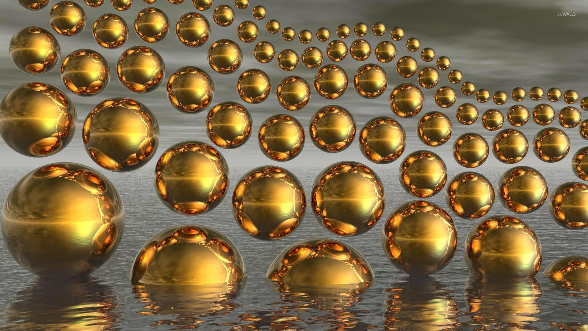 Gold spheres wallpaper 3d wallpapers 10564 for Gold 3d wallpaper
