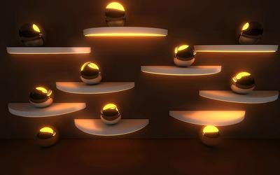 Golden spheres wallpaper