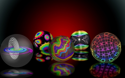 Hypnotic shells of the colorful orbs wallpaper