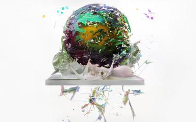 Liquid around shard sphere wallpaper