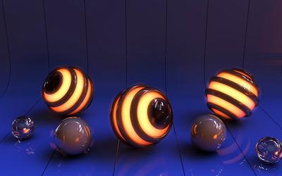 Lit balls in a blue tunnel wallpaper