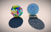 Meshed sphere and cellular sphere wallpaper 2560x1440 jpg