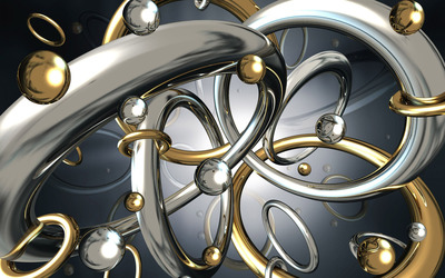 Metallic balls and circles wallpaper