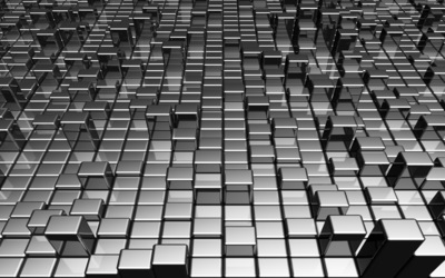 Metallic gray cubes wallpaper
