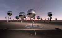 Metallic orbs under the sunset sky wallpaper 2560x1440 jpg