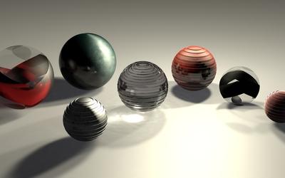 Metallic spheres wallpaper