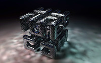 Metallic tubes forming a cube wallpaper 1920x1200 jpg