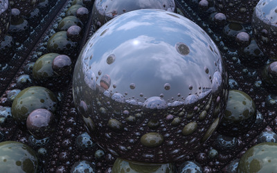 Mirrored spheres wallpaper
