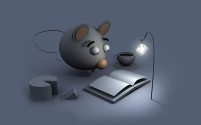 Mouse reading a book wallpaper