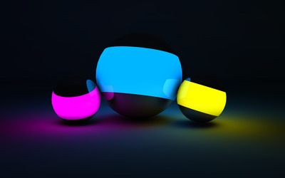 Neon spheres wallpaper