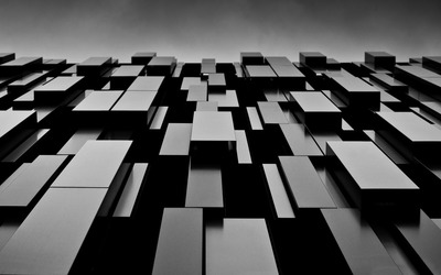 Overlayed black cuboids wallpaper