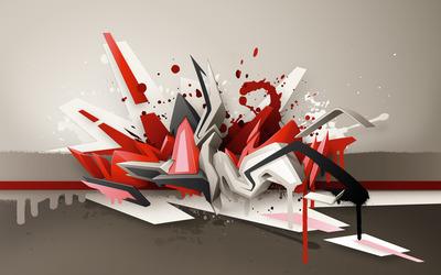 Paint splash on different shapes wallpaper
