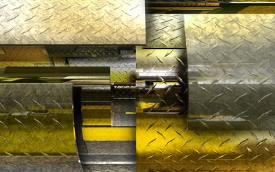 Pattern on metallic shapes wallpaper