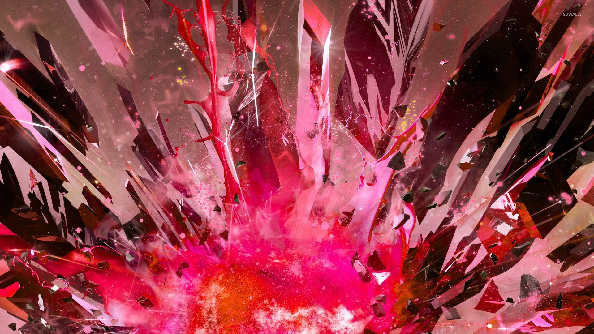 Pink exploding crystals wallpaper 3d wallpapers 29973 for 3d wallpaper pink