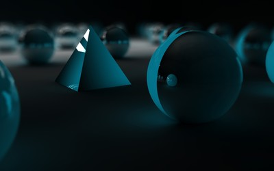 Pyramid surrounded by spheres wallpaper